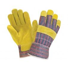 Перчатки комбинированные х/б со спилком, желтый