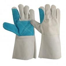 Перчатки спилковые пятипалые, двойная ладонь, серый