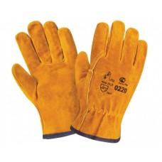 Перчатки спилковые пятипалые, 220 желтый